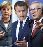 Συνάντηση Γιούνκερ, Μέρκελ, Μακρόν για Ελλάδα-Ευρωζώνη